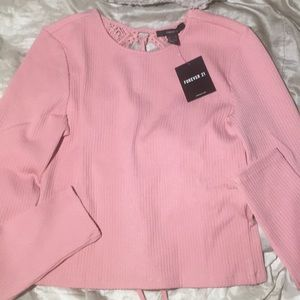 Pink sweater with lace up back size L (new)